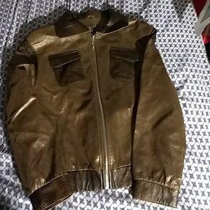 Vintage  pigskin dual-colored leather jacket.